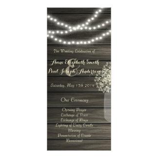 Le pot de maçon allume le programme de mariage cartes doubles customisables