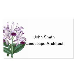 Le pourpre exotique d'usine d'orchidée fleurit carte de visite standard
