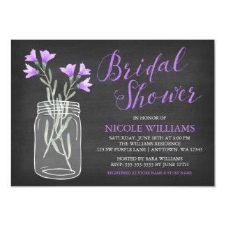 Le pourpre fleurit la douche nuptiale de tableau carton d'invitation  11,43 cm x 15,87 cm