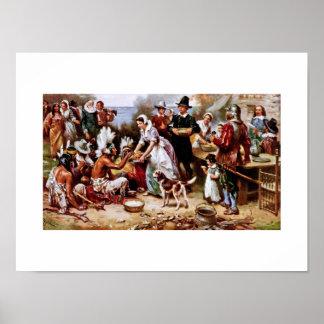 Le premier thanksgiving, 1621. Affiche de beaux-ar