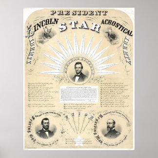 Le Président Lincoln Acrostic Star 1864 Affiche