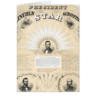 Le Président Lincoln Acrostic Star 1864 Cartes De Vœux