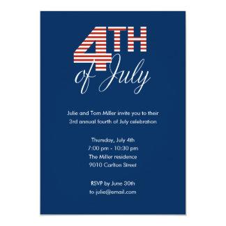 Le quatrième de juillet barre l'invitation de carton d'invitation  12,7 cm x 17,78 cm