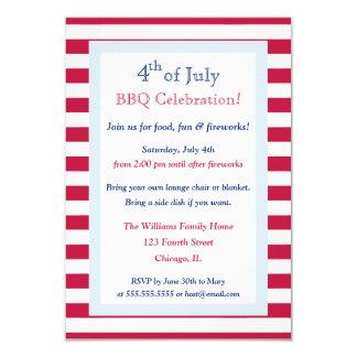 Le quatrième du blanc rouge de juillet barre carton d'invitation 8,89 cm x 12,70 cm