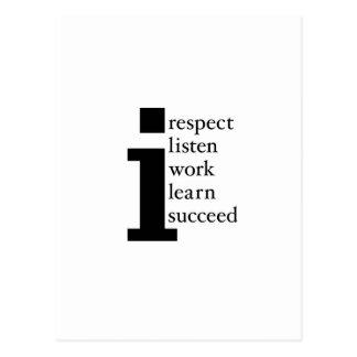 Le respect apprennent réussissent écoutent travail carte postale