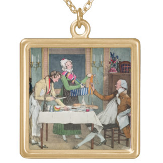 Le Restaurant, pub. by Rodwell and Martin, 1820 (c Gold Plated Necklace