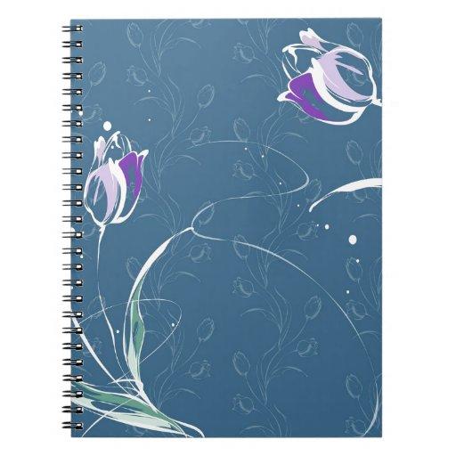 Le résumé fleurit la tulipe bleue carnet