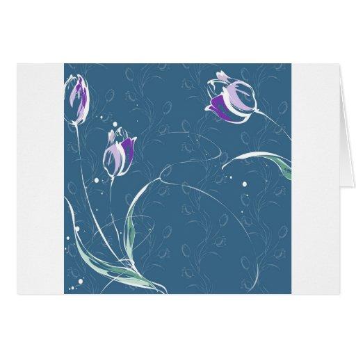 Le résumé fleurit la tulipe bleue cartes de vœux