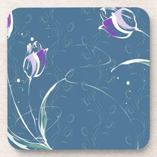 Le résumé fleurit la tulipe bleue dessous-de-verre