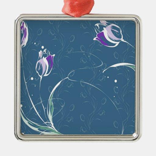 Le résumé fleurit la tulipe bleue ornement de noël