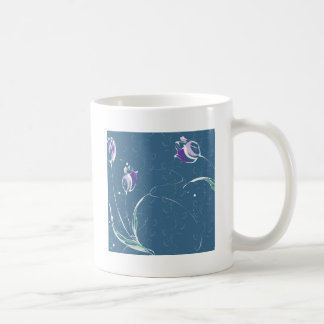 Le résumé fleurit la tulipe bleue mug à café