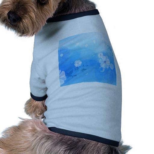 Le résumé fleurit le jardin bleu t-shirt pour animal domestique
