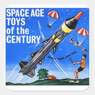 Le rétro âge d'espace vintage de Sci fi de kitsch  Sticker Carré