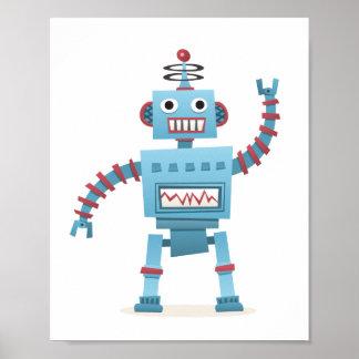 Le rétro androïde mignon de robot badine l'art de  posters