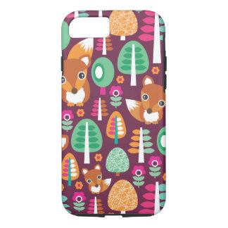 Le rétro arbre coloré mignon de renard badine le coque iPhone 7