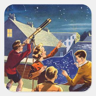 Le rétro kitsch vintage Sci fi 40s badine le Sticker Carré