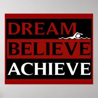 Le rêve croient réalisent l'affiche de natation poster