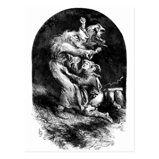 Le Roi Lear et imbécile dans une tempête Carte Postale