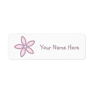 Le rose pourpre de fleur pointille 2 étiquette d'adresse retour