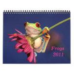 le rouge a observé la grenouille d'arbre, calendriers