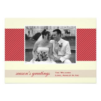 Le rouge de baie barre Noël de vacances de photo d Faire-parts