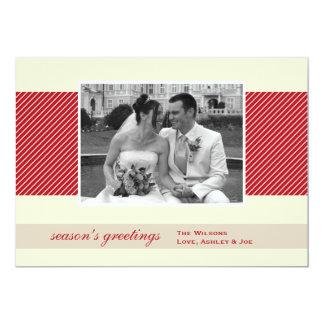 Le rouge de baie barre Noël de vacances de photo Carton D'invitation 12,7 Cm X 17,78 Cm