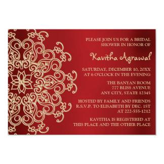 Le rouge et l'Indien d'or ont inspiré la douche Carton D'invitation 12,7 Cm X 17,78 Cm