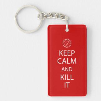 Le rouge gardent le porte - clé calme de porte-clé rectangulaire en acrylique double face