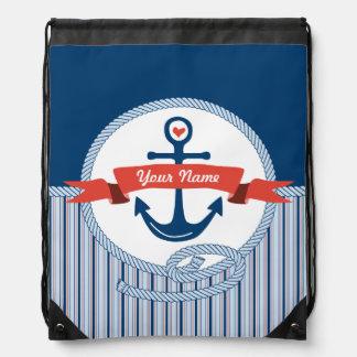 Le ruban nautique de corde d'ancre barre le bleu sacs à dos
