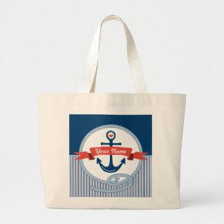 Le ruban nautique de corde d'ancre barre le bleu sac
