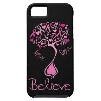 Le ruban rose croient et aiment le cas de l'iphone étui iPhone 5