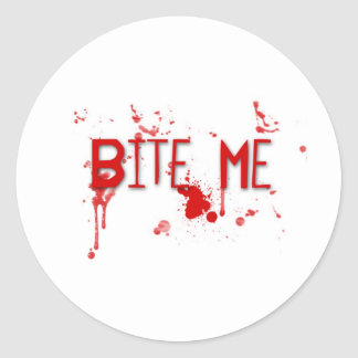 "Le sang vrai ""me mordent "" sticker rond"