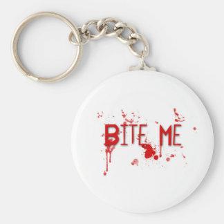 """Le sang vrai """"me mordent """" porte-clé rond"""