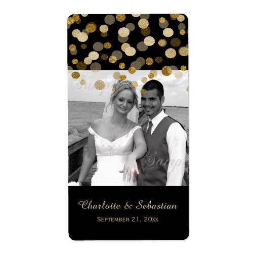 Le scintillement de Faux d'or de mariage pointille Étiquettes D'expédition