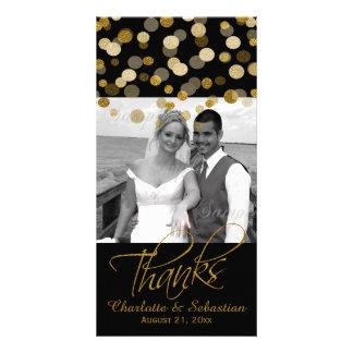 Le scintillement d'or de Faux de mariage pointille Cartes De Vœux Avec Photo