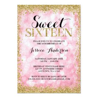 Le scintillement rose de Faux d'or allume Carton D'invitation 12,7 Cm X 17,78 Cm