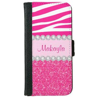Le scintillement rose miroite caisse de coque avec portefeuille pour iPhone 6