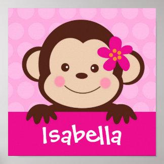 Le singe de bébé a personnalisé les filles nommées posters