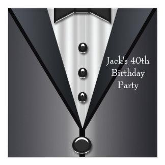 Le smoking noir équipe la quarantième fête carton d'invitation  13,33 cm