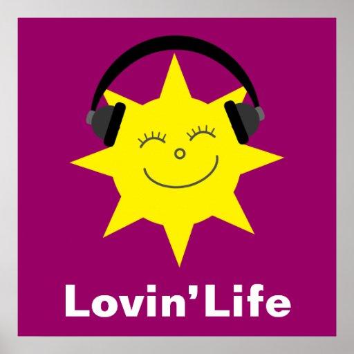 Le soleil et affiche heureux de la vie de Lovin d'
