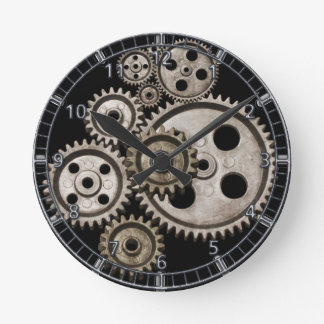 le steampunk embraye l'horloge de machine en métal
