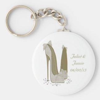Le stylet de mariage chausse des cadeaux d'art porte-clé rond