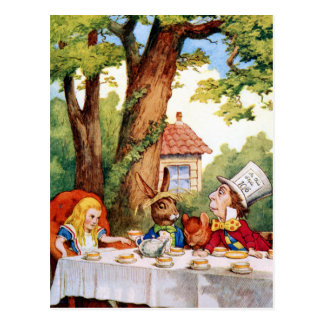 Le thé du chapelier fou au pays des merveilles carte postale