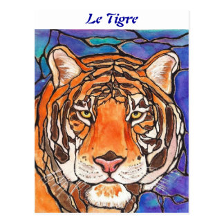 """""""Le Tigre"""" The Tiger Stained Glass Style Art! Postcard"""