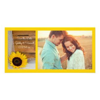 Le tournesol et le mariage campagnard de voile cartes de vœux avec photo