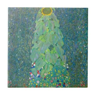 Le tournesol par Klimt, cru fleurit l'art Nouveau Carreau En Céramique