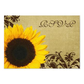 Le tournesol rustique tourbillonne épousant la carton d'invitation 8,89 cm x 12,70 cm