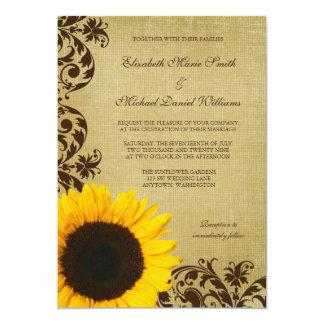 Le tournesol rustique tourbillonne mariage carton d'invitation  12,7 cm x 17,78 cm