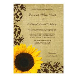 Le tournesol rustique tourbillonne mariage