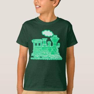 """Le train vert de fou de vapeur """"votre nom"""" badine t-shirt"""